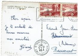 N°1036x2 Sur Carte Postale Du 16/4/1957 - 1921-1960: Période Moderne