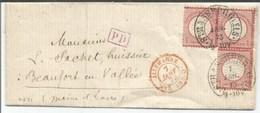 H631 - Fer à Cheval STRASSBURG Pour Maine Et Loire - 1873 - Type 36-1 -Tarif 3 X1 Groschen - Strasbourg Bas Rhin Alsace - Postmark Collection (Covers)