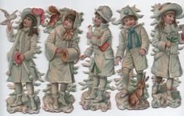 Chromo Découpis/Noël / Jeunes Filles En Tenues De Neige/ 5 Personnages/Dissociés/Vers 1890 - 1900  CHRO99 - Autres