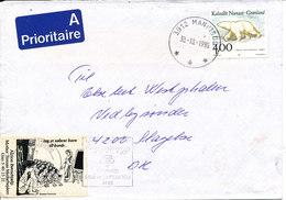 Greenland Cover Sent To Denmark Maniitsoq 30-10-1995 Single Franked - Greenland