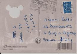 "TIMBRO POSTE PARIGI TARGHETTA "" PARC DU MOULIN.........."", CARTOLINA , Disneyland Resort Paris ,2005, - Francia"