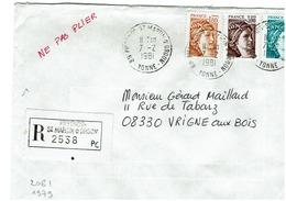 Sabine De GANDON '- N° 2061-1979-2123 Sur Lettre Recommandée De PIFFONDS-St MARTIN D'ORDON Du 7/2/1981 - Marcophilie (Lettres)