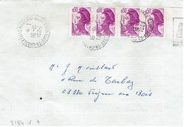 Liberté  De GANDON '- N° 2184x4 Sur Lettre 16/10/89 - Marcophilie (Lettres)