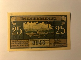Allemagne Notgeld Neubrandenburg 25 Pfennig - [ 3] 1918-1933 : République De Weimar