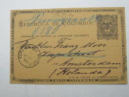 KOLUMBIEN  ,  Ganzsache   Nach Holland  Verschickt , 1891 - Kolumbien