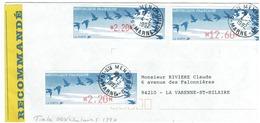 Timbre De Ditributeur - LISA - Oiseaux De Jubert X3 Sur Lettre Recommandée DeSte MENEHOULD Du 4/2/1992 - 1990 Type «Oiseaux De Jubert»