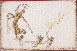 Fantasiekaart Carte Fantaisie 1904 Jugendstil Art Nouveau Doree Gaufree Goldprint Ange Engel Angels CPA Old Postcard - Anges