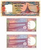 1998 // BANGLADESH BANK // 500 Taka & 2x 10 // SPL//AU - Bangladesh
