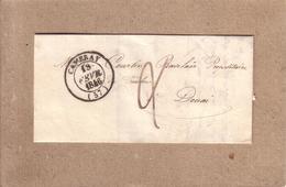 NORD - LETTRE DEPART DE CAMBRAI POUR DOUAI , CAD TYPE 13 + TAXE -1846 - 1801-1848: Voorlopers XIX