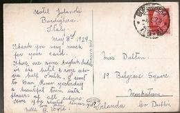 Italy & Marcofilia, Bordighera, Winter Gardens, Giardino Winter, Hotel Jolanda, Dublin Ireland 1929 (5757) - 1900-44 Victor Emmanuel III
