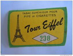 Matchbox Label Etiket Tabac Tabak 238 Tour Eiffel Tabac Supérieur Pour Pipe Et Cigarettes - Matchbox Labels