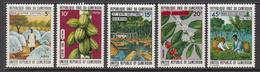 1973 Cameroun Agriculture, Cottonm, Logging, Coffee, Tea, Cacao Set Of 5 MNH - Cameroun (1960-...)