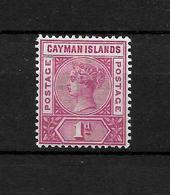Cayman Islands 1900 QV 1d Carmine, SG2 MM (6777) - Cayman Islands