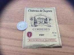 Etiquette De Vin 1989 «CORBIÈRES - Château De Jugnes - J-L. FABRE - PORT-LA-NOUVELLE (11)» - Rouges