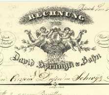 Zürich 1839 DAVID SPRÜNGLI & SOHN Dekorative Rechnung Suisse Schweiz Zurich - Suisse
