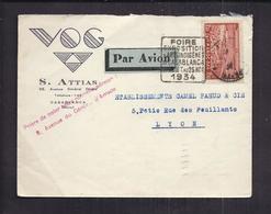 ENVELOPPE COMMERCIALE MAROC CASABLANCA Tàd 1934 POSTE AERIENNE Timbre 1,5F Foire Exposition Arts Indigènes VOF ATTIAS - Marokko (1891-1956)