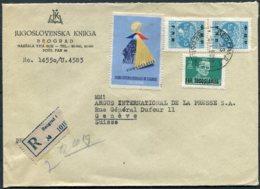 1951 Beograd Registered Jugoslovenska Knjiga Cover - Argus Press Agency, Geneva Switzerland. International Fair Vignette - 1945-1992 Socialist Federal Republic Of Yugoslavia