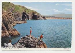 AJ79 Black Rocks, Criccieth - Children Fishing - Caernarvonshire