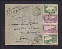 ENVELOPPE FRANCHISE MILITAIRE AOF SENEGAL DAKAR 1942 PAR AVION Timbres Multiples - Senegal (1887-1944)