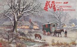 AR99 Greetings - Merry Christmas Greetings, Snow, Horse & Caravan, Tuck Oilette, Glitter - Christmas