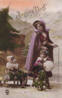 AR99 Greetings - Joyeux Noel - Woman With Children And Sledge - Christmas