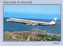 Iceland/Islande/Ijsland/Island Postcard Icelandair DC-8/63 F In Air Unused - Iceland