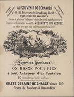 Calendrier Publicitaire 1877 Au Souvenir De Béranger Vêtements Sur Mesure Tailleurs Manufacturiers Draperie - Calendars