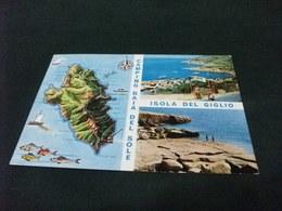 CARTA GEOGRAFICA ISOLA DEL GIGLIO CAMPING BAIA DEL SOLE  PIN UP VEDUTE - Carte Geografiche