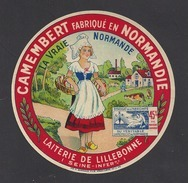Etiquette De Fromage Camembert  -  La Vraie Normande  -  Laiterie De Lillebonne   (76) - Cheese