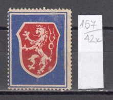 42K157 / ANIMAL Lions  Lowen Leoni  Leeuwen  , CINDERELLA LABEL VIGNETTE , Czechoslovakia Tchecoslovaquie - Cinderellas
