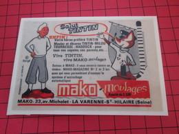 Page De Revue Des Années 60/70 : PUBLICITE MAKO MOULAGE TINTIN Dimensions : Voir Quadrillage 1x1cm - Figurines