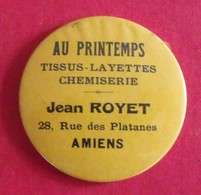 Miroir Publicitaire, De Sac, De Poche Ou De Courtoisie. Au Printemps, Tissus Layettes Chemiserie Jean Royet, Amiens 1950 - Other