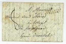ARMEE FRANCAISE EN ESPAGNE 1813 Purifiee Desinfectee Lettre D'armee Texte Historique - Army Postmarks (before 1900)