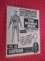 Page De Revue Des Années 60/70 : PUBLICITE MAQUETTE THE VISIBLE MAN Dimensions : Voir Quadrillage 1x1cm - Figurines