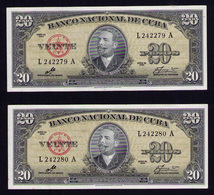 CUBA 20 PESOS 1960 PAREJA CORRELATIVA ESTRICTO UNC - Cuba