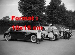Reproduction D'une Photographie Ancienne D'une Bugatti, Chenard Walcker Et Une Delage Au Bois De Boulogne En 1939 - Repro's