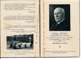Faire-part Memento Mori Philippe PETAIN Maréchal De France - Devotieprenten