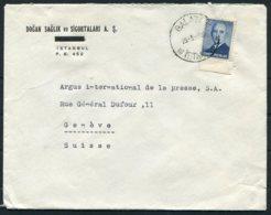 1949 Turkey Dogan Saglik Ve Sigortalari, Galata Cover - Argus Press Agency, Geneva Swizerland - 1921-... Republic
