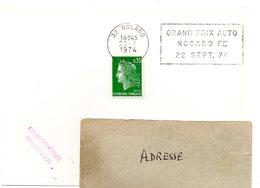 COURSE AUTOMOBILE = 32 NOGARO 1974 = FLAMME SECAP  TEMPORAIRE 'GRAND PRIX AUTO F II ' - Marcophilie (Lettres)
