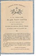 Faire-part Memento Mori Enfant Tony CATTA Mort à 1 Semaine En 1924 - Images Religieuses