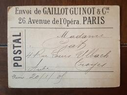 1905 - Récépissé Postal Envoi Au Percepteur De Nogent Sur Seine De Mme Piat (Troyes), Entête Gaillot Guinot à Paris - Storia Postale