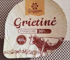 Lithuania Litauen Sour Cream 30% 400 Gr. Cow - Milk Tops (Milk Lids)