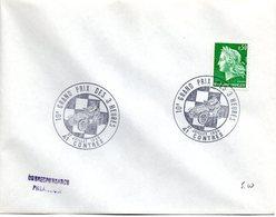 COURSE AUTOMOBILE = 41 CONTRES 1969 = CACHET TEMPORAIRE Illustré '10e GRAND PRIX Des 3 HEURES' Sur Marianne De CHEFFER - Automobile