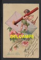 DD / FÊTES - VOEUX / BONNE FÊTE / DESSIN / FLEURS ET ENFANT QUI SCELLE UNE LETTRE / CARTE GAUFRÉE / CIRCULÉE EN 1904 - Auguri - Feste