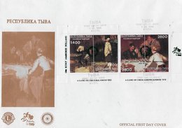 Tuva 1996; Chess Scouting Paintings Smith / Jambor; Green O/p Rotary + Jamboree Holland ;  FDC - Tuva