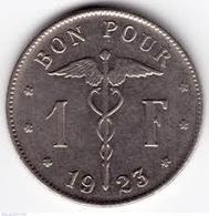 1 FRANC BELGE 1923 - Belgique