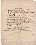 Dixième Attestation Quittance Gages En Droit 1712 - Historische Dokumente