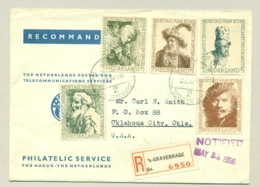 Nederland - 1956 - Complete Rembrandt Serie Op 1e Dag R-cover Van Den Haag Naar Oklahoma / USA - Lettres & Documents