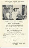 Faire-part Décès Memento Mori Claude Colonel Jean Charles CHÂTEL  France Usa - Images Religieuses
