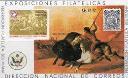 Schlacht 200 Jahre USA 1976 Bolivien Block 68 ** 8€ Gemälde Büffel-Jagd S/s Art Hoja Painting Bloc Sheet Bf Bolivia - Bolivia
